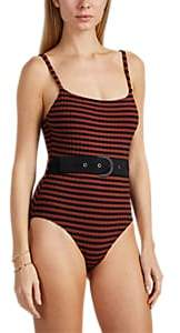 Solid & Striped Women's Nina Striped Belted One-Piece Swimsuit