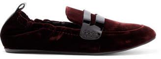 Lanvin Patent Leather-trimmed Velvet Loafers - Burgundy