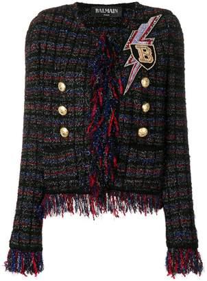 Balmain embellished fringed tweed jacket