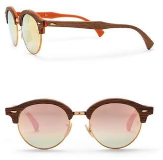 Ray-Ban Phantos Club 48mm Round Wood Sunglasses