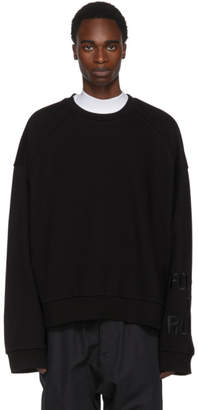 Juun.J Black Embroidered Sleeve Sweatshirt