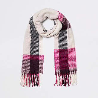 River Island Beige and pink check scarf