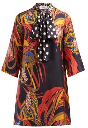 La Prestic Ouiston Park Avenue Pussy Bow Silk Twill Dress - Womens - Red Multi