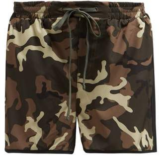 The Upside Camouflage Print Running Shorts - Womens - Green Multi