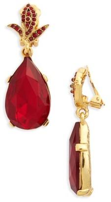 Women's Oscar De La Renta Crystal Teardrop Clip Earrings $295 thestylecure.com