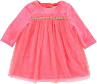 Billieblush Long-Sleeve Velour & Tulle Dress, Size 12-18 Months