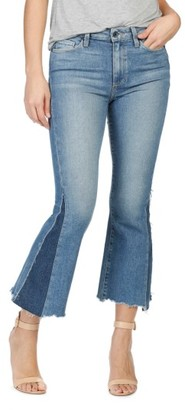 Women's Paige Legacy Colette Pieced High Rise Raw Hem Crop Flare Jeans $269 thestylecure.com