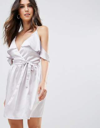 Oh My Love Satin Wrap Dress With Tie Waist