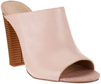 Halston H By H by Open-Toe Leather Mules w/ Stacked Heel - Kendra