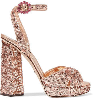 Dolce & Gabbana - Sequined Leather Sandals - Antique rose $945 thestylecure.com
