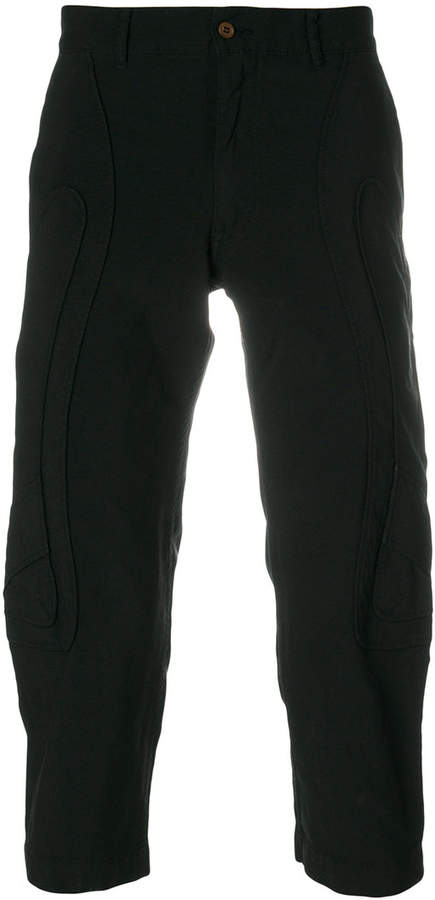 curved panel cropped trousers