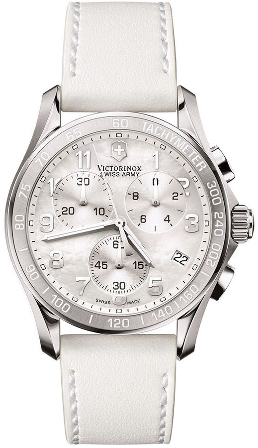 Victorinox Swiss Army Watch, Women's Chronograph White Leather Strap 241256