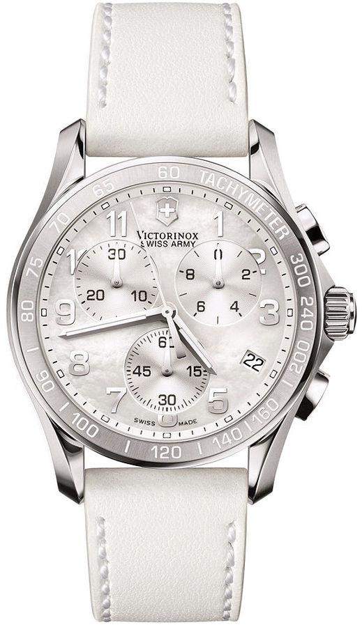 Victorinox Swiss Army Watch, Women's Chronograph White Leather Strap 241256