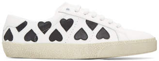 Saint Laurent White and Black Heart Court Classic Sneakers