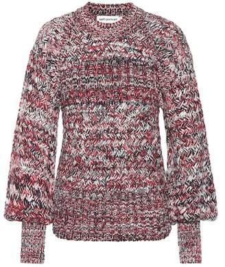 Self-Portrait Bishop-sleeve cotton-blend sweater