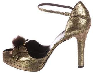 Fendi Leather Fur-Accented Pumps