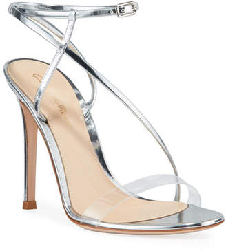 Gianvito Rossi Metallic Clear-Strap Asymmetric Sandals