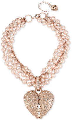 "Betsey Johnson Rose Gold-Tone Pave & Imitation Pearl Winged Heart Pendant Torsade Necklace, 17"" + 3"" extender"