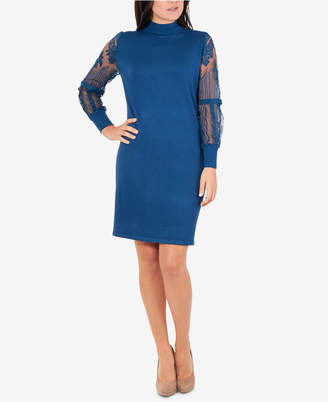 NY Collection Lace-Sleeve Bodycon Dress