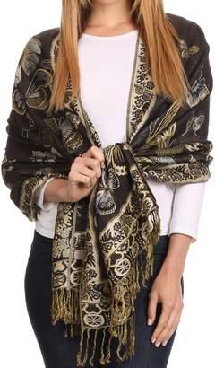 Sakkas 16126 - Liua Long Wide Woven Patterned Design Multi Colored Pashmina Shawl/Scarf - OS