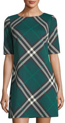Eliza J Half-Sleeve Plaid Shift Dress