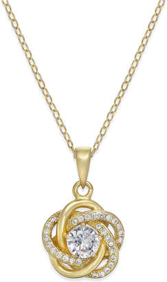 Giani Bernini Cubic Zirconia Love Knot Pendant Necklace in Sterling Silver and 18k Gold-Plated Sterling Silver