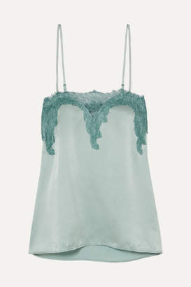 CAMI NYC The Sweetheart Lace-trimmed Silk-charmeuse Camisole - Mint