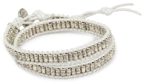 M.Cohen Handmade Designs Silver Stamped Beads On White Wax Linen Double Wrap Bracelet