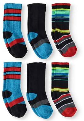 Athletic Works Crew Socks, 6 Pairs (Little Boys & Big Boys)