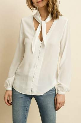 Dress Forum Ivory Long Sleeve Blouse with Tie Neck