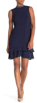 Donna Ricco Beaded Jewel Neck Sleeveless Dress