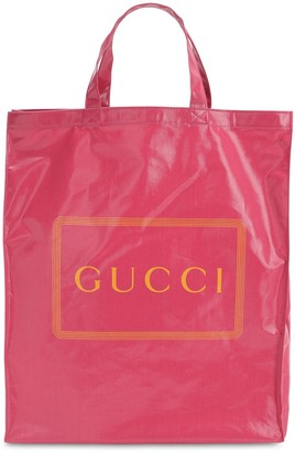 Gucci Logo Printed Coated Canvas Tote Bag