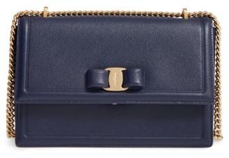 Salvatore Ferragamo Medium Ginny Leather Shoulder Bag - Blue $1,190 thestylecure.com