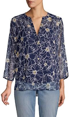 NYDJ Floral Silk Blouse