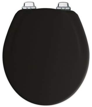 Round Toilet Seat in Black/Chrome