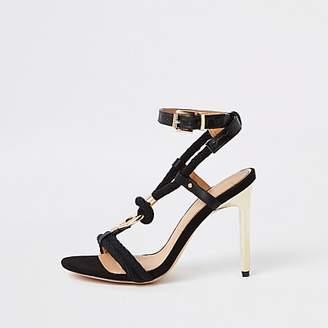 07b9a2dcc9b River Island Womens Black rope ring stiletto heel sandals