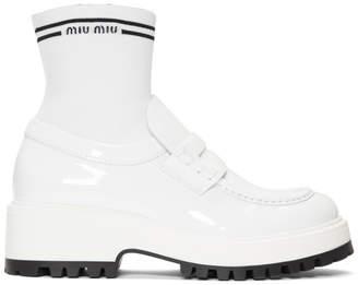 Miu Miu White Patent Sock Loafers