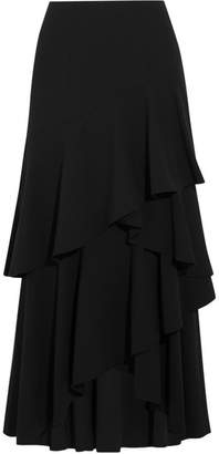 Alice + Olivia Martina Asymmetric Ruffled Crepe Maxi Skirt - Black
