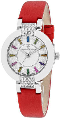 Celine CHRISTIAN VAN SANT Christian Van Sant Womens Silver-Tone Dial and Red Leather Strap Watch