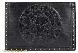 Balmain Domaine embossed leather clutch