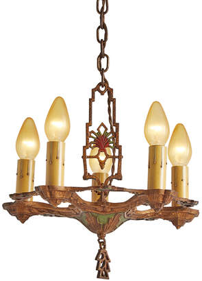 Rejuvenation Art Deco 5-Light Chandelier w/ Original Polychrome Finish