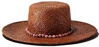 Gigi Burris Millinery Beaded-Trim Straw Sun Hat