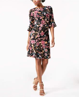 Connected Petite Printed Bell-Sleeve Sheath Dress