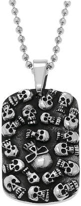 JCPenney FINE JEWELRY Mens Stainless Steel & Black IP Skull Dog Tag Pendant Necklace