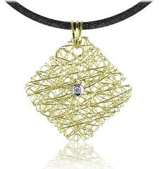 Orlando Orlandini Central Diamond 18K Yellow Gold Pendant w/Lace