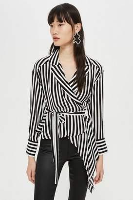Topshop Stripe Tie Wrap Blouse
