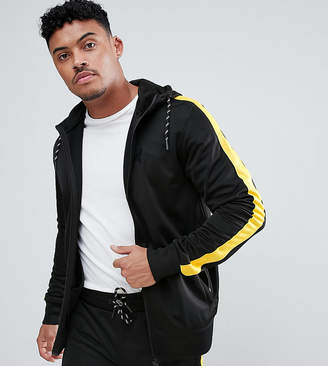 Asos Good For Nothing Muscle Track Jacket In Black With Yellow Side Stripe Exclusive To
