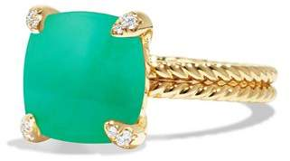 David Yurman Châtelaine Ring with Chrysoprase and Diamonds in 18K Gold