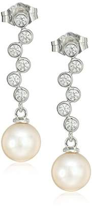Swarovski Platinum Plated Sterling Silver Freshwater Pearl Drop With Bezel Set Zirconia Accents Earrings
