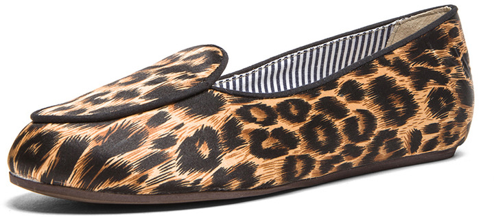 Charles Philip Shanghai Olympia Satin Loafers in Leopard Classic